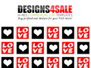 Thumbnail Love Squares Red Pattern For Sale