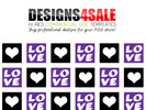 Thumbnail Love Squares Purple Pattern For Sale