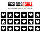 Thumbnail Hearts And Stars Black Pattern For Sale