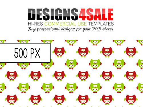Product picture Cute Little Owls Red n Green Pattern For Sale
